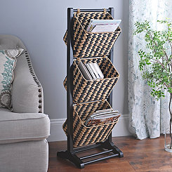 Black Basket Magazine Holder Tower