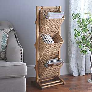 Natural Basket Magazine Holder Tower