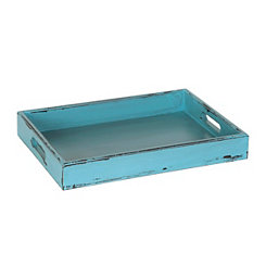 Distressed Blue Decorative Tray