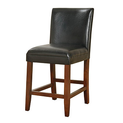 Black Faux Leather Counter Stool
