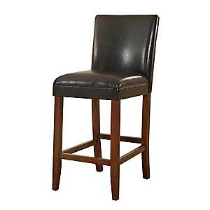 Black Faux Leather Bar Stool