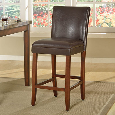 Brown Faux Leather Bar Stool