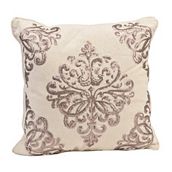 Tan Metallic Damask Pillow