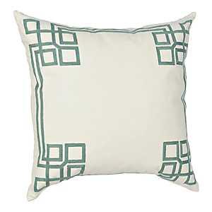 Aqua Greek Key Pillow
