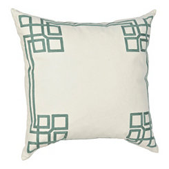 Aqua Greek Key Pillow