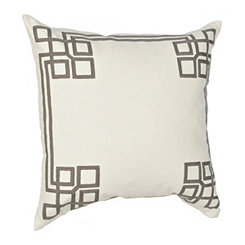 White Greek Key Pillow