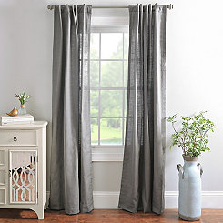 Charcoal Cotton Slub Curtain Panel Set, 84 in.
