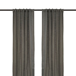 Charcoal Cotton Slub Curtain Panel Set, 96 in.