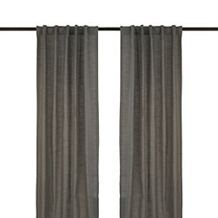 Charcoal Cotton Slub Curtain Panel Set, 108 in.
