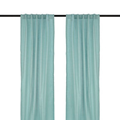 Aqua Cotton Slub Curtain Panel Set, 96 in.