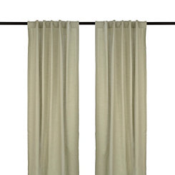 Gray Cotton Slub Curtain Panel Set, 96 in.