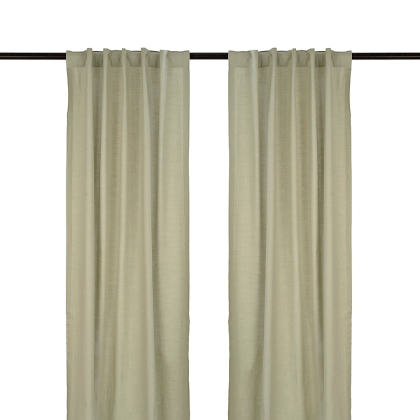 gray cotton slub curtain panel set 96 in