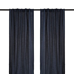 Navy Cotton Slub Curtain Panel Set, 96 in.