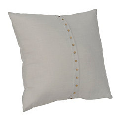 Paulie Gray Button Pillow