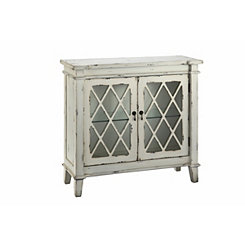 Distressed Off-White Glass 2-Door Accent Cabinet