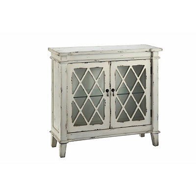 Distressed White Glass 2-Door Accent Cabinet