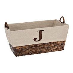 Woven Rattan Monogram J Basket