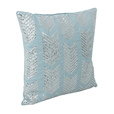 Blue Hadara Sequin Arrow Pillow