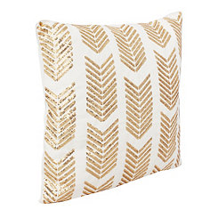 White Hadara Sequin Arrow Pillow
