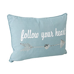 Blue Sequin Follow Your Heart Pillow