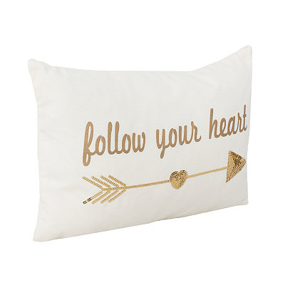 Egret Sequin Follow Your Heart Pillow