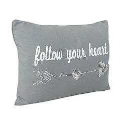 Gray Sequin Follow Your Heart Pillow