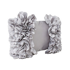 Silver Bahama Side Ruffles Accent Pillow