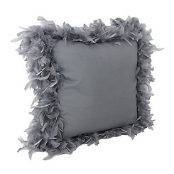 Charcoal Mary Feather Trim Pillow