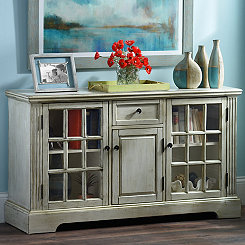 Cream 3-Door Windowpane Media Cabinet