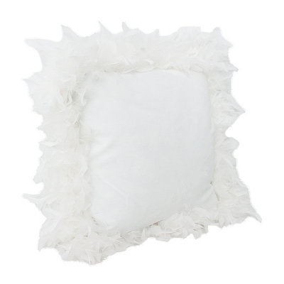 White Mary Feather Trim Pillow