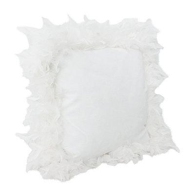 White Mary Feather Trim Pillow