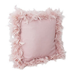 Rose Smoke Mary Feather Trim Pillow