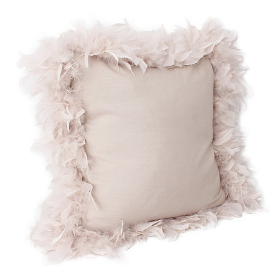 Oatmeal Mary Feather Trim Pillow