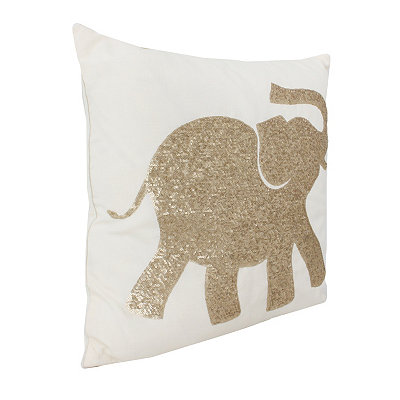Egret Elazar Sequin Elephant Pillow