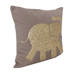 Taupe Elazar Sequin Elephant Pillow