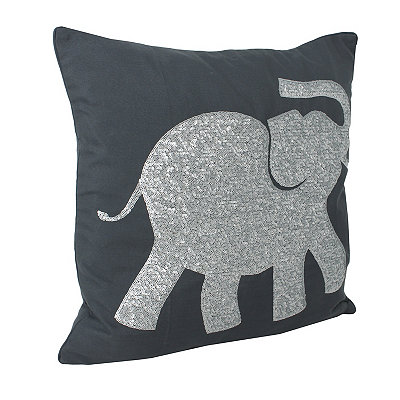 Charcoal Elazar Sequin Elephant Pillow