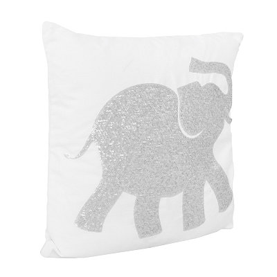 White Elazar Sequin Elephant Pillow