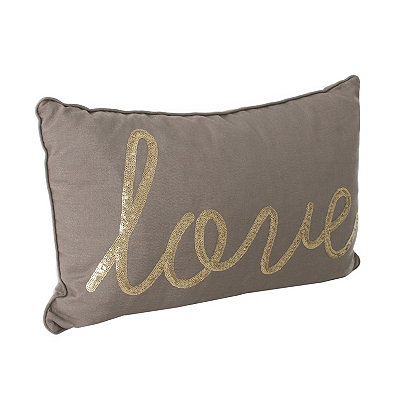 Taupe Indy Sequined Love Accent Pillow