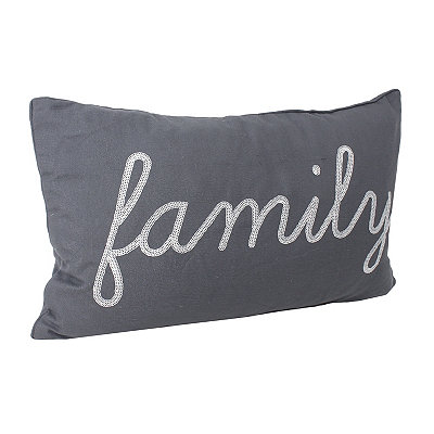Charcoal Feris Sequined Family Accent Pillow