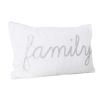 White Feris Sequined Family Accent Pillow