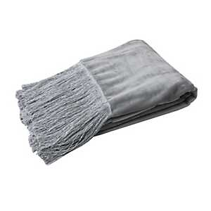 Silver Francesca Fleece Fringe Throw Blanket