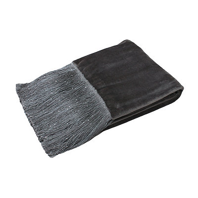 Charcoal Francesca Fleece Fringe Throw Blanket
