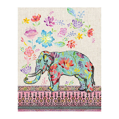 Elephant Flowers Canvas Art Print