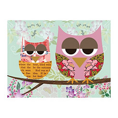 Mother and Child Owl Canvas Art Print
