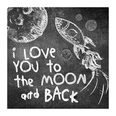 Moon and Back Chalk Art Canvas Art Print