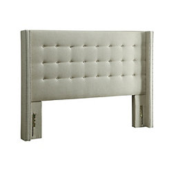 Beige Tufted Wingback Queen Headboard