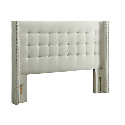 Linen Tufted Wingback Queen Headboard