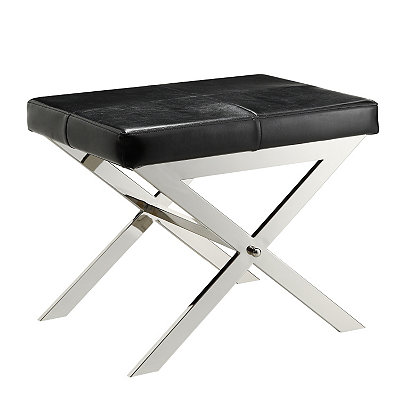 Black Bonded Leather X Stool