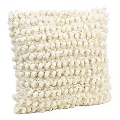 Ivory Celeste Ball Fringe Pillow