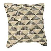 Cream and Gray Woven Triangle Pillow